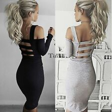 Women Bandage Backless Long Sleeve Sexy Evening Party Pencil Bodycon Mini Dress