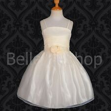 Beaded Satin Flower Girl Occasion Dress Wedding Pageant Party Kid Size 4-7 FG192