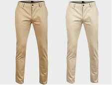 EX ASOS Mens slim Fit Tappered  Chinos Trousers Stone and Blur Colour