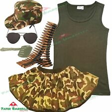 ARMY FANCY DRESS Camouflage Military Vest Tutu Cap Bullet Belt costume outfit