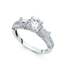 14k Yellow OR White Gold Solitaire CZ Vintage Style Engagement Ring Round CZ
