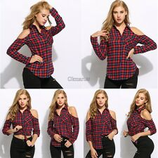 Women Plaid Cold Shoulder Long Sleeve Casual Button Down Shirt OK01