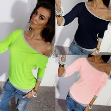Fashion Casual Womens 3/4 Sleeve Loose Pullover T Shirt Top Blouse LM02