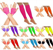 NEON FISHNET GLOVES AND LEG WARMERS HEN NIGHT LEGWARMERS 1980S FANCY DRESS PARTY