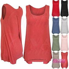 NEW LADIES SPLIT BACK TOP LAYERED VEST WOMENS 2in1 LOOK LINED SLEEVELESS BLOUSE