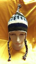 Hand Knitted Pigtails 100% Woolen Hat with Fleece Lining Adult ~ Made In Nepal