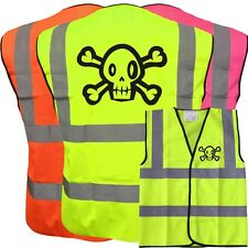 PIRATE HI VIS VIZ KIDS VEST JOKE CUSTOM WAISTCOAT CHILD YELLOW PINK ORANGE