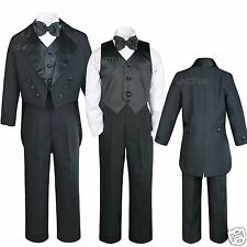 Infant,Toddler,Boy Wedding Formal Recital Black Tail Tuxedo Bow Tie Suit S-18