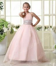 Pink One-Shoulder BallGown Flower Girl Kid Pageant Formal Dance Party Prom Dress