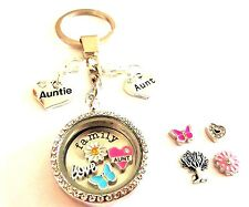 30mm new AUNT AUNTIE filled living memory glass locket choice chain UK