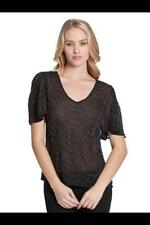 NEW WOMENS GUESS JEANS BEADED EMBELLISHED BLACK BLOUSE S/S DRESSY TOP XS S L