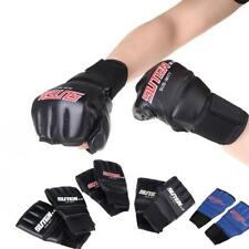 1 Pair PU Leather Half Finger Boxing Gloves Muay Thai Training Sparring Mittens