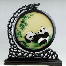 Chinese double-sided silk embroidery ornament art panda bamboo screen