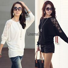 Women's Batwing Sleeve Tops Hollow Out Lace Spliced Loose T-Shirt Blouse LM02