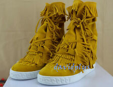 13 Colors Womens Wedge Hidden Heel Tassels Shoes Suede Lace Up Fashion Sneakers