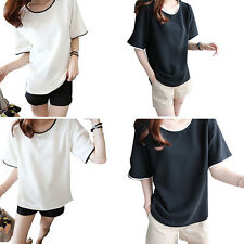 Loose 1X Blouse Summer Short sleeves T-shirt Class service Female color