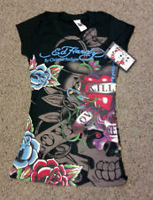 ED Hardy Black Multi-print Love Kills Slowly T Shirt heart skull