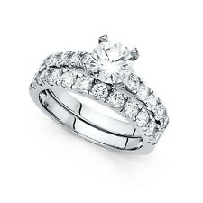 14k Yellow OR White Gold CZ Engagement Ring & Wedding Band Solitaire CZ Ring Set