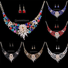 Bridal Wedding Prom Crystal Flower Rhinestone Necklace Earrings Jewellery Set