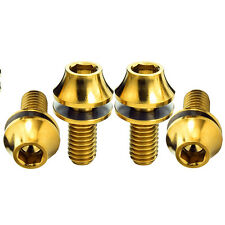 4PCS M5X12mm Titanium Ti Gr5 Allen Hex Water Bottle Cage Bolts Screws + Washer