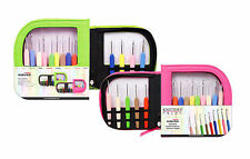 Knitter's Pride Waves Crochet Hooks Set of 9 - your choice of Green or Pink Case