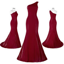 Maxi Mermaid Satin One Shoulder Wedding Ball Gown Evening Prom Party Dresses New