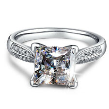 Women's Princess Cut 2ct AAA CZ 925 Silver Engagement Wedding Band Ring Size 4-9