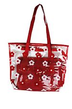 Clear Transparent Juicy Spring And Summer Floral Print Large Tote Bag (Red)