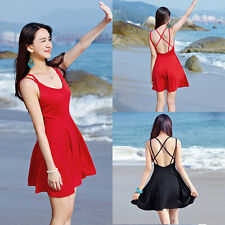 Sexy Women Lady High Waist Spaghetti Strap Backless Mini Dress Beach Sundress