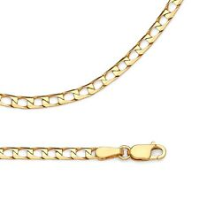 Solid 14k Yellow Gold Chain Square Curb Necklace Diamond Cut Link , 2.6 mm
