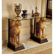 Royal Ancient Egyptian Cheetahs Hand Finished Sculptural Glass Topped Console