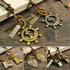 Unsex Leather Rope Anchor Shoe Key Feather Ring Pendant Cord Necklace Steady