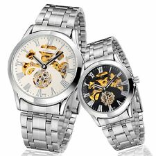 Automatic Mechanical Stainless Steel Self Wind Skeleton Mens Wrist Watch Gift UK