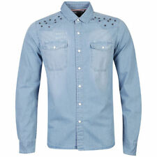 Mens Denim Shirt by Designer Brave Soul 'Hondo' Long Sleeve Cotton Shirt S-XL