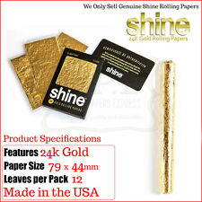 Shine 24K Gold Regular 1 ¼ Rolling Papers - Full Pack of 12 gold papers