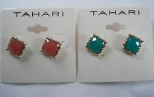 AUTHENTIC BRAND NEW T TAHARI GOLD TONE FACETTED STUD EARRING MAKES PERFECT GIFT