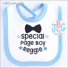 PERSONALISED BABY BIB OR T-SHIRT - PAGE BOY - WEDDING DAY GIFT - EMBROIDERED
