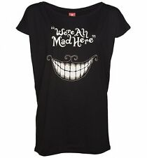 Official Women's Black Disney We're All Mad Here Slouchy T-Shirt