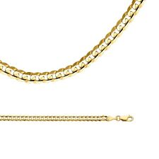 Solid 14k Yellow Gold Chain Cuban Curb Necklace Concave Heavy  , 4 mm
