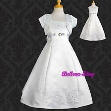 Embroidery Rhinestone Satin Dresses Bolero Flower Girl Pageant Size 2T-14 FG018J