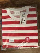 MENS LADIES FANCY DRESS WALLY STYLE T-SHIRT RED + WHITE STRIPED
