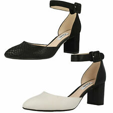 SALE LADIES CLARKS LEATHER BUCKLE ANKLE STRAP SMART COURT SHOES BLISSFUL CHARM