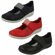 LADIES CLARKS CLOUDSTEPPERS RIPTAPE FLAT WIDE FIT MARY JANE SHOES SILLIAN CALA