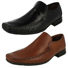 MENS CLARKS LEATHER SQUARE TOE WORK FORMAL LOAFERS SLIP ON SHOES FERRO STEP