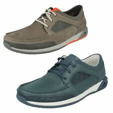 MENS CLARKS NUBUCK LEATHER LACE UP CASUAL BOAT STYLE SPORTS SHOES ORMAND SAIL