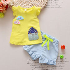 Baby Kids Summer Short Sleeve Top and Shorts Sets Adorable Girl Clothing Outfits