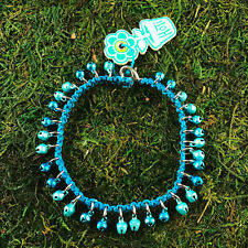 HOTI Hemp Handmade Turquoise Blue Bells Anklet Ankle Bracelet Hand Crafted NWT