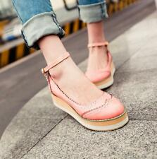 Womens Ladies Wing Tip Flats Wedge Platform Sandals Ankle Strap Sweet Shoes NEW