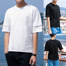 New Mens T-shirt Short Sleeves Loose Tee Hip-Hop Streetwear Black White M-3XL G