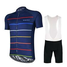 MORVELO Cycling Clothing Jersey & Bib Shorts Kit Sets Coolmax Padding BLUE 2017